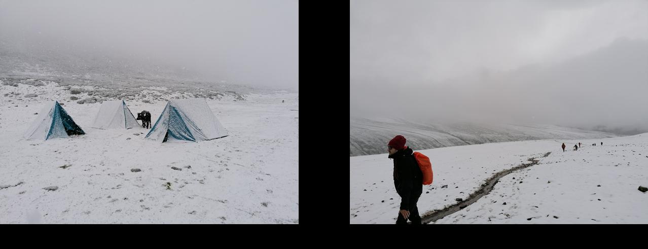 Montée du Kongmaru sous la neige